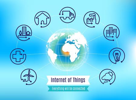 wereldbol: Vector: Infographic over Internet der Dingen met bol op blauwe achtergrond, concept van de technologie.