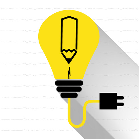 ignite: Vector :Lightbulb with black pencil icon on line notepad background,Ignite idea for writing creative word,Creative idea concept.