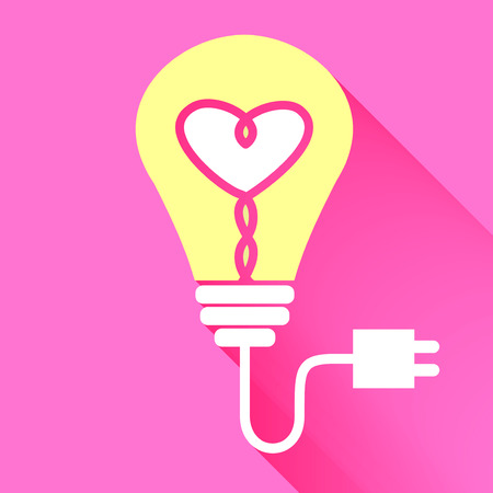 lightbulbs: Vector : Lightbulb with heart icon inside on red background,Brighten your love,Valentine concept.