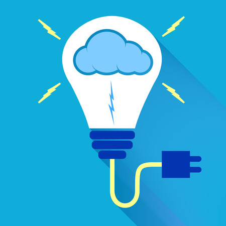 ignite: Vector : Lightbulb with cloud icon on blue background,Ignite your cloud media to shine,Creative concept.