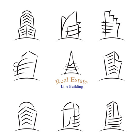 property development: Vector : Real estate building icons in line stroke style ,Property development concept design.