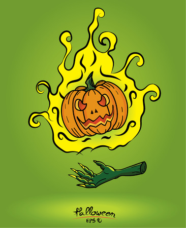 curse: Pumpkin in fire floating on the devil hand on green background,halloween concept. Illustration