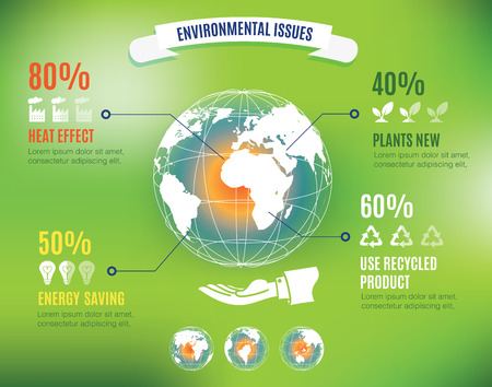 issue: Vector : Infographic of environmental issues with global world map floating over hand of business man and information icon,ecology concept.