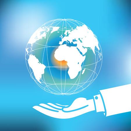 manos logo: Vectorial: Global con el mapa que flota sobre el hombre de negocios mano sobre fondo azul abstracto. Vectores