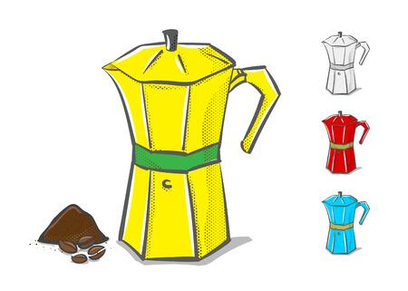 Vector : Moka pot in hand doodle style ,coffee concept. Vector