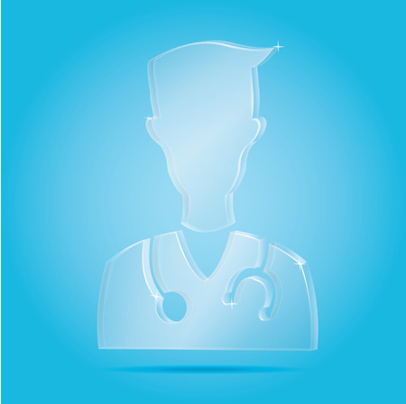 profile picture: Vector: Smile Doctor icon with stethoscope on blue background,Health care,flat icons,profile picture.