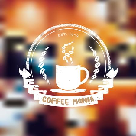 fond restaurant: Vecteur: Vintage caf� de style grunge logo sur fond flou caf�, restaurant logo concept.