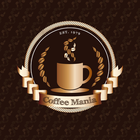 Vector : Premium coffee shop logo with gold badge on coffee bean pattern background, restaurant logo concept.