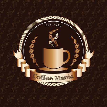 Vector: Premium coffeeshop logo met gouden badge op koffie bonen patroon achtergrond, restaurant logo concept.
