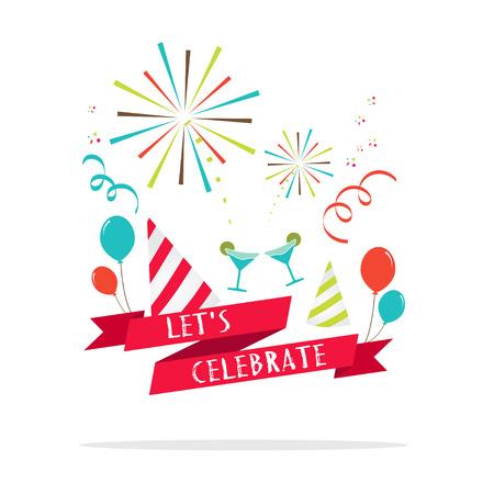 祝賀会: ベクトル: パーティー アイコンとバナーを祝いましょう。