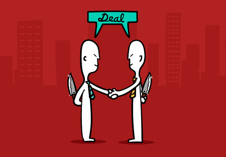 dishonesty: Biz man concept : Two Business mans shaking hands with tricky deal a business at city building background. Illustration