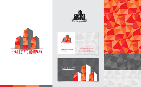 Vector : Real Estate Logo with business name card and corporate pattern in modern low poly style, Branding concept.