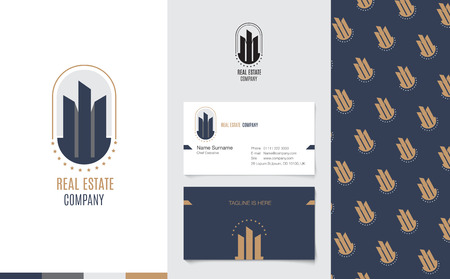 hotel icon: Vector : Real Estate Logo with business name card and corporate pattern in luxury geometric style, Branding concept. Illustration