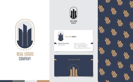 logotipo de construccion: Vector: Bienes Raíces Logo con del nombre comercial y el modelo corporativo de estilo geométrico de lujo, el concepto de Branding.