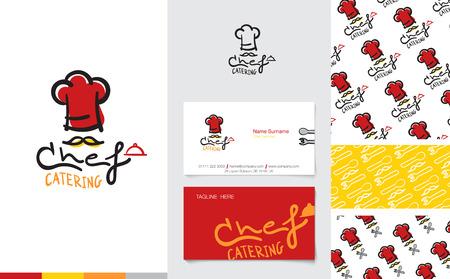stravování: Vector: Restaurace a Catering Logo s obchodním názvem kartou a firemní vzor v kreslený styl, branding koncept.