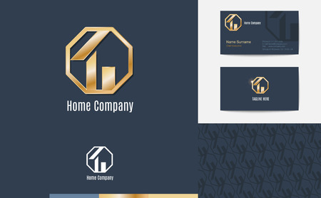 gold house: Vector : Set of House business logo, business card and pattern for background,Branding identity design, real estate concept.