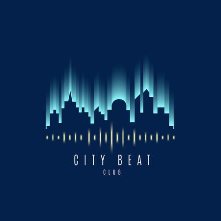iconos de música: Vector: Edificio de la ciudad y de las olas Logo sonido, club Música concepto.
