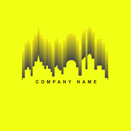 logo music: Vector : City building and wave sound Logo ,Music club concept.