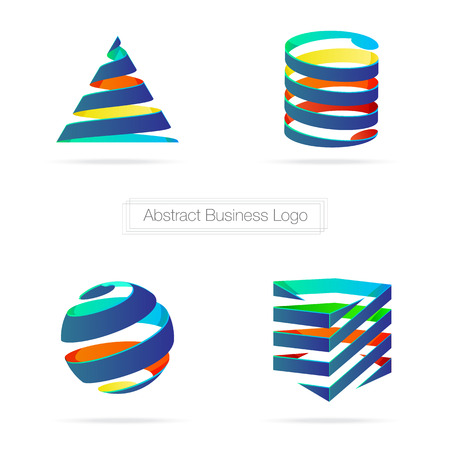 Vector : Abstract colorful business ribbon 3D logo,Technology concept. Vector