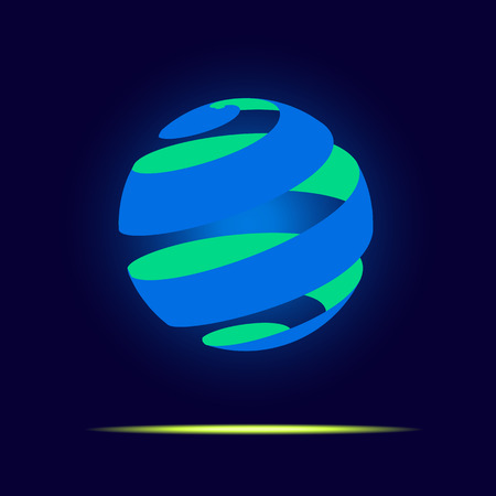 globe logo: Vector : Abstract globe logo in ribbon style  floating in dark blue background,Business Logo or use for business icon. Illustration
