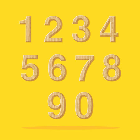 one: Vector : Numbers with wooden texture set on yellow background. Illustration
