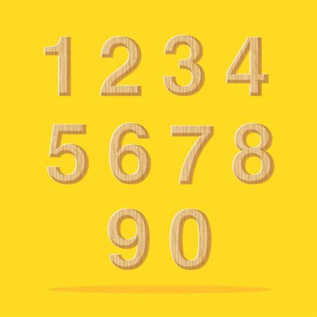 number one: Vector: Números con madera textura conjunto sobre fondo amarillo.