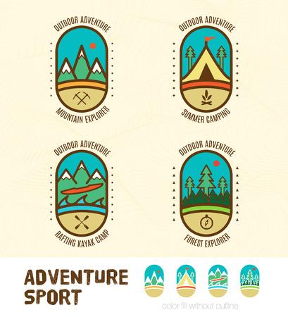 include: Vector : Sett of Adventure sport logo badges include Mountain Explorer,Summer Camping,Kayak camp,Forest explorer, Outdoor sport concept.