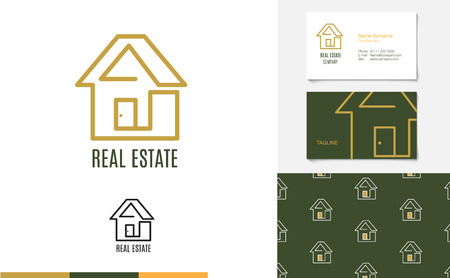 gold house: Vector : Set of House logo, business card and pattern for background,Branding identity design, real estate concept.