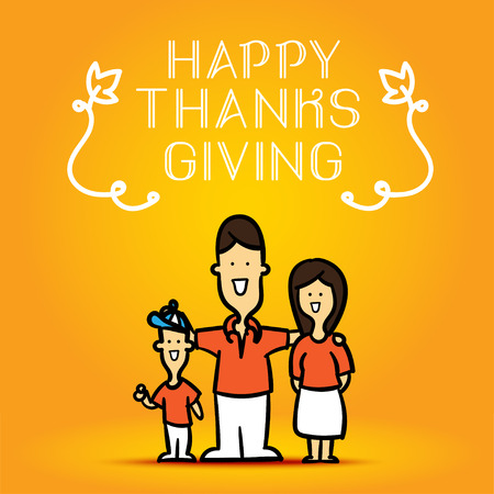 thanks giving: Happy Thanks Giving with family cute cartoon on orange background. Illustration