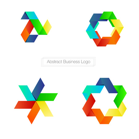 Vector : Abstract business logo with colorful ribbon style on white background , Logo concept. Vector