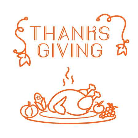 Thanks Giving label with turkey and fruit icon on white background. Vector