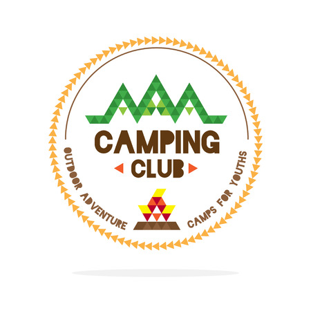 yellow adventure: Vector : Youth camping club logo with mountain and camp fire in polygon style on white background , Logo concept. Illustration