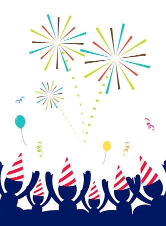 Vector : People with party hat celebrate at party with firework,Happy New year party. Illustration