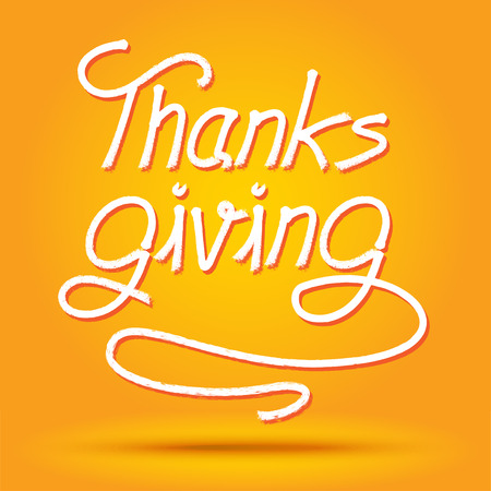 thanks giving: Happy Thanks Giving Day Label on orange background.