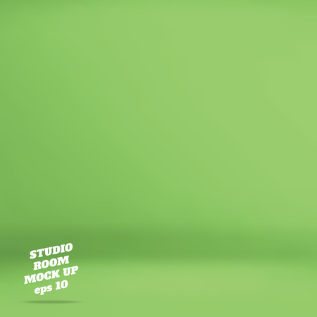 Vector : Empty green studio room background ,Template mock up for display of product,Business backdrop. Vectores