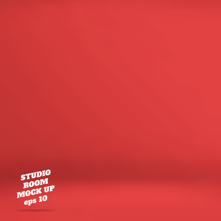 studio: Vector : Empty red studio room background ,Template mock up for display of product,Business backdrop. Illustration