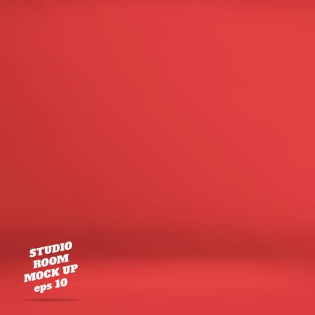fondo rojo: Vectorial: Empty fondo rojo sala de estudio, Plantilla maqueta para la exhibición de productos, telón de fondo de negocios.