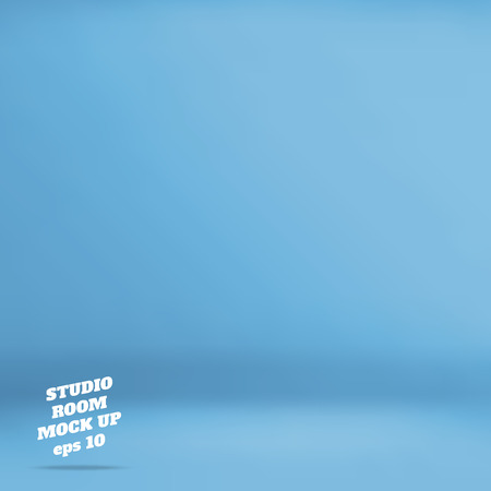 vector : Empty blue studio room background ,Template mock up for display of product,Business backdrop.
