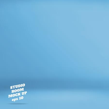 vectorial: Empty fondo azul sala de estudio, Plantilla maqueta para la exhibición de productos, telón de fondo de negocios.