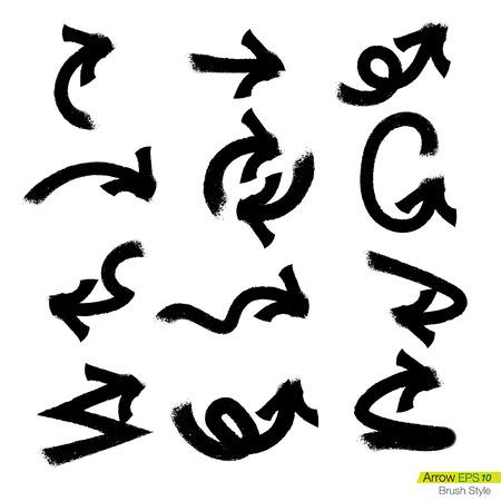 designator: Set of doodle rough bursh arrows, Design element for business presentation. Illustration
