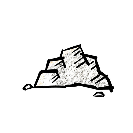 boulder: Vector : Rock with pencil shading in hand drawing cartoon style on white background.