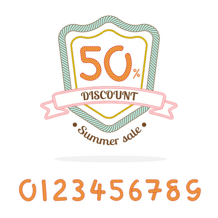 logo marketing: Vector : Rope sale badge logo,Bonus : 0-9 number for made sale percent by yourself,Marketing element.