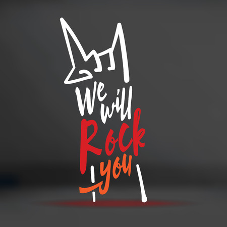 concerto rock: Vector: We will rock you palabra con forma de garabato mano en el fondo negro del estudio, el concepto de la música. Vectores