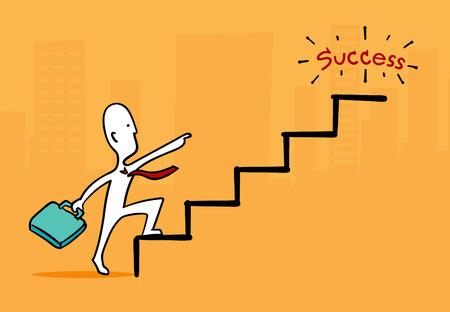 runing: Biz man concept : Businessman at star point running up to success stair. Illustration