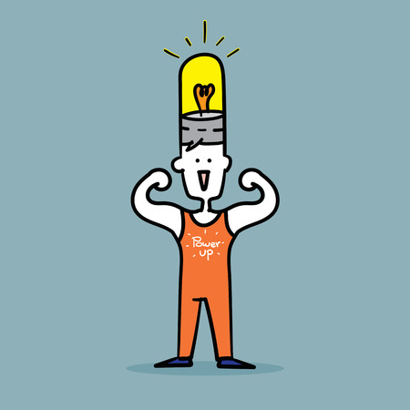 flex: Man flex muscles to show Strong power up idea.