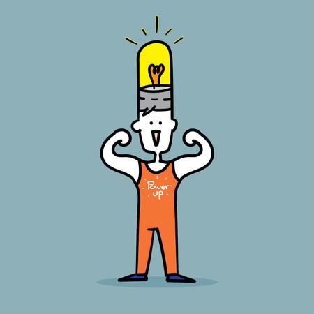 Man flex muscles to show Strong power up idea.