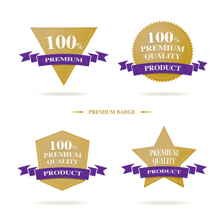 Vector : 100 % Premium Quality badge logo with gold and dark purple color, Luxury banner product. Vector