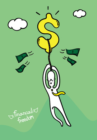 financial freedom: Vector : Business man hold dollar sign fly in the air, Financial freedom concept.