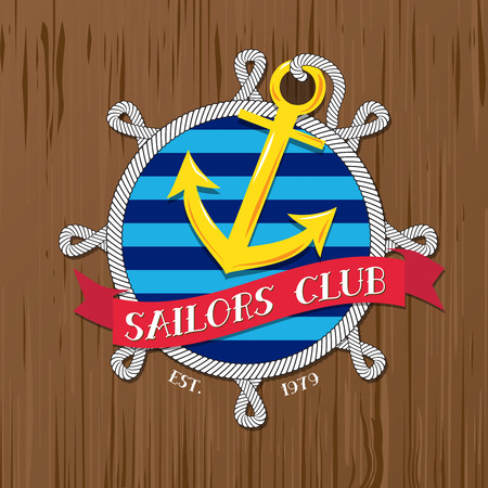 steering wheel: Vector : Sailors club logo with rope and badge on wood background. Illustration