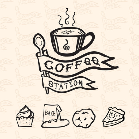 Vector coffee station logo in doodle style include bakery icon and flag pattern at background, Coffee shop concept design. Vector
